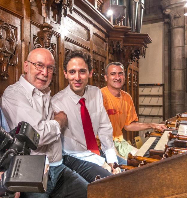 Les Maestro Vincent Dubois, Daniel Pandolfo, (et leur assistant Guillaume Blind) à Obernai